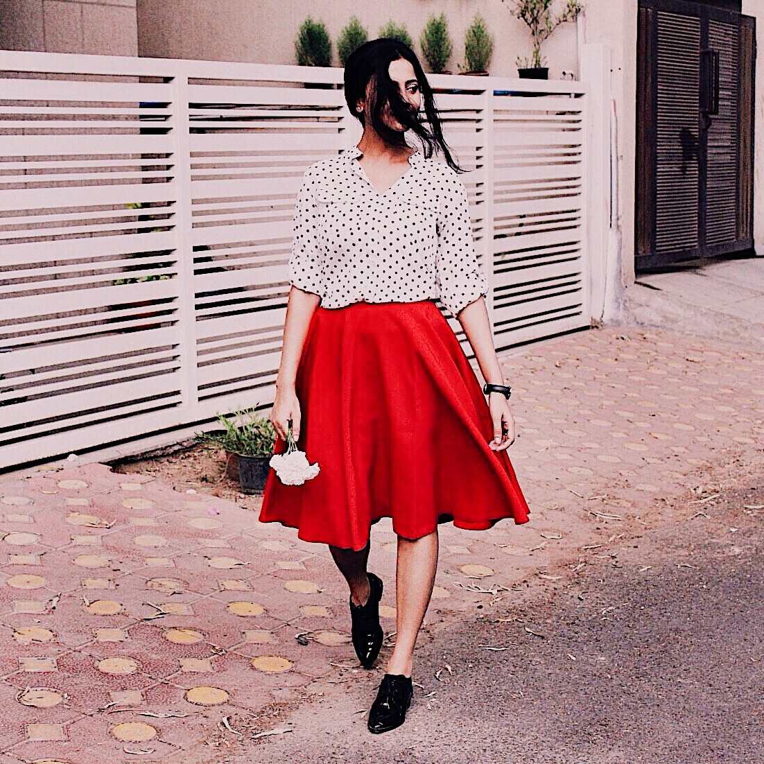 parisian outfit, parisian style,french style,dress like french women,effortless chic,masculine vibe,wear masculine pieces,red skirt, wear midi skirt,polka dots, wear polka dots,vesper,asos outfit,decode parisian style, polka dot blouse, french colors, dress like a parisian, indian blogger, indian luxury blog, who what wear, top style blogger