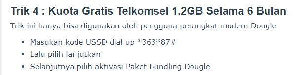 Kuota Telkomsel 1,2GB Selama 6 Bulan