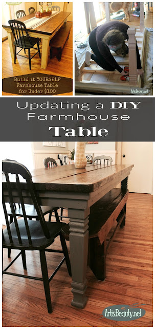 UPDATING A DIY FARMHOUSE TABLE WITH NEW LEGS AND PAINT OSBOURNE WOOD PRODUCTS SQUARE FARMHOUSE STYLE LEGS AND GENERAL FINISHES DRIFTWOOD GRAY
