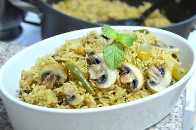 Mushroom Pulao ~ Mushroom Rice