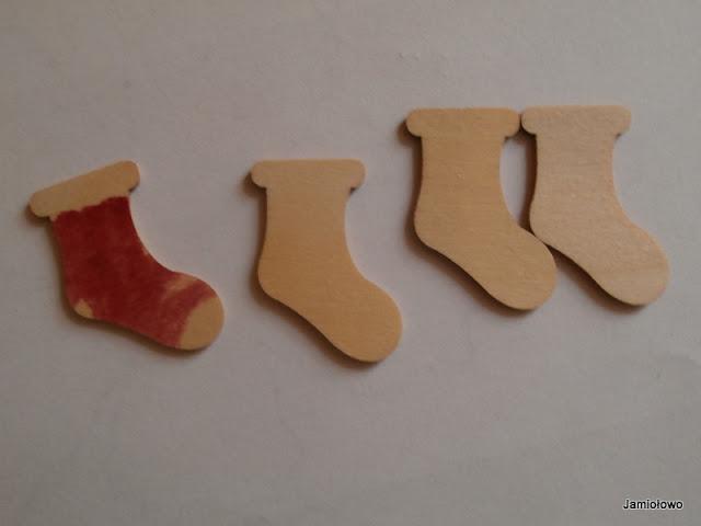 drewniane scrapki - świąteczne skarpety