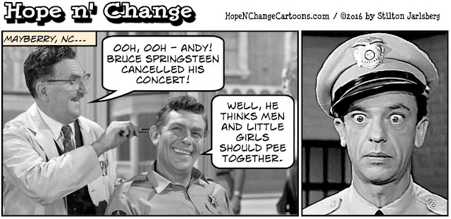 obama, obama jokes, political, humor, cartoon, conservative, hope n' change, hope and change, stilton jarlsberg, springsteen, north carolina, lgbt, gay rights, mayberry, andy griffith, barney