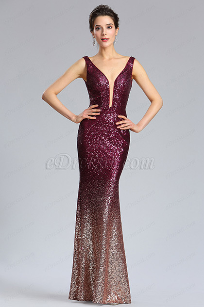 Elegant Deep V-Cut Burgundy-Gold Sequins Party Dress