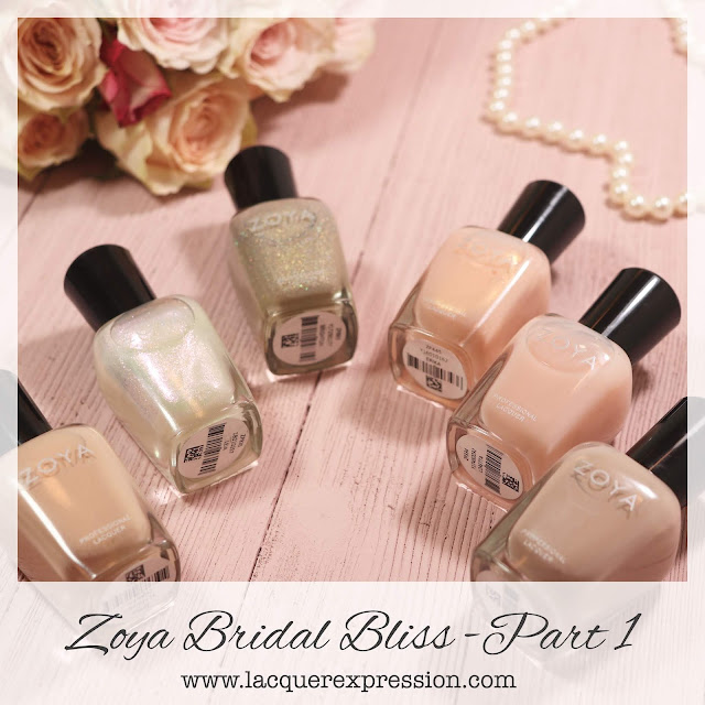 Swatches and review of the nail polish collection Bridal Bliss from Zoya