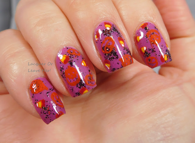 Winstonia Horror Night plate over Zoya Liv stamped with Messy Mansion polishes