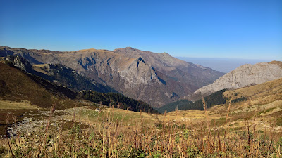 View from Rifugio Garelli looking north into a winter haze.