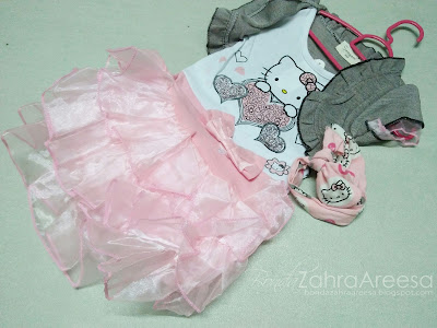 Baju hello kitty, headband hello kitty, peminat hello kitty