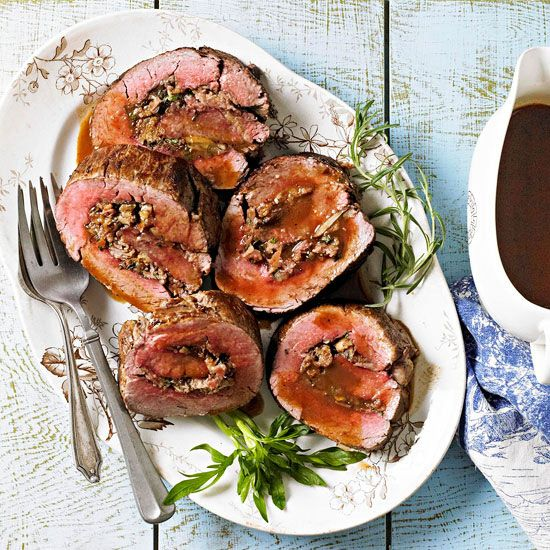 Christmas dinner idea - Beef Tenderloin with Parmesan-Herb Stuffing with recipe link