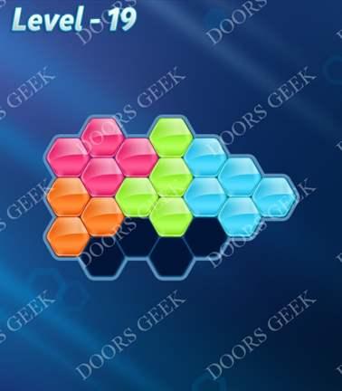 Block! Hexa Puzzle [Rainbow A] Level 19 Solution, Cheats, Walkthrough for android, iphone, ipad, ipod