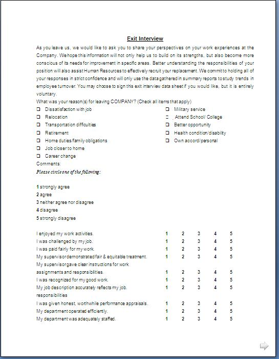 Exit interview form format in doc pdf for Employee exit interview questions template