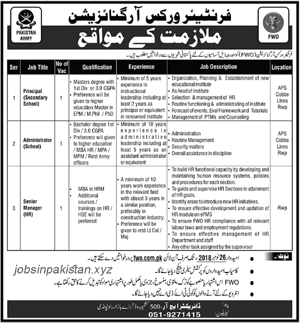 Advertisement for FWO Jobs 2018