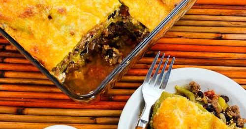 ... Green Chile Mexican Casserole with Ground Beef, Black Beans, and