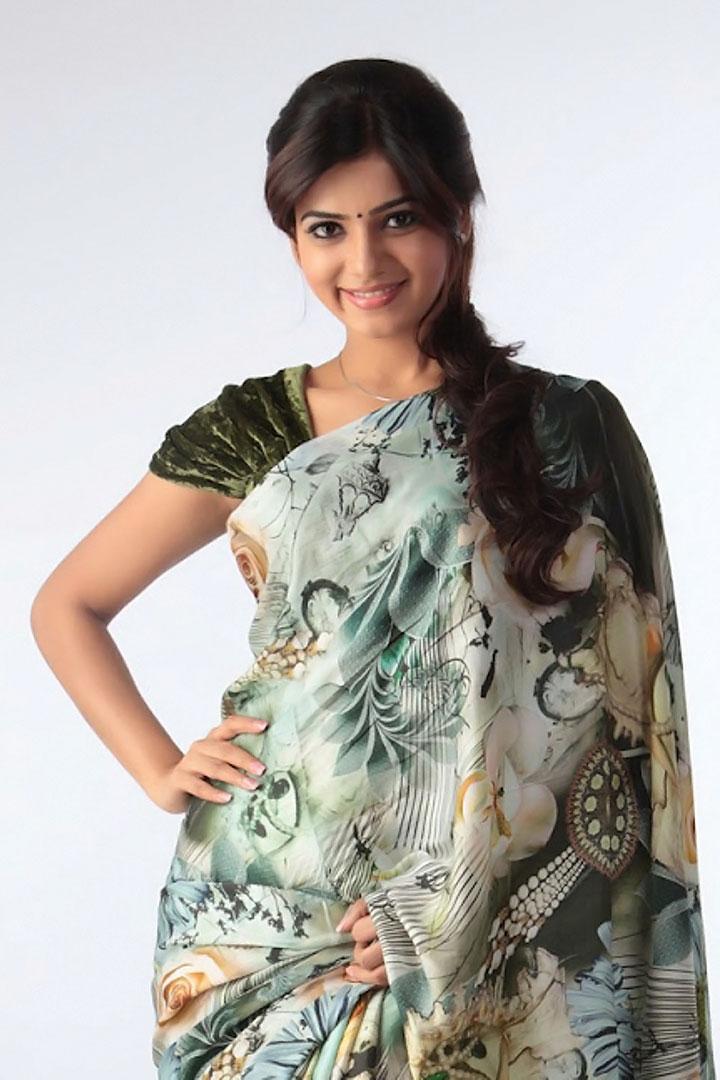 Samantha Ruth Prabhu Hip Navel Photos In Blue Saree Hot