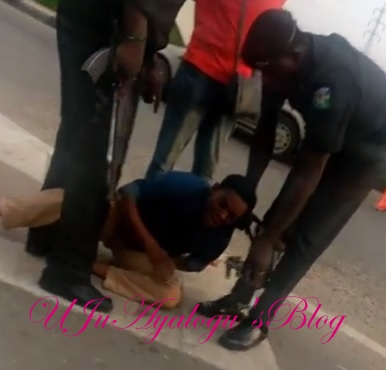 VIDEO: Police officers allegedly assault man for overtaking their van in Lagos