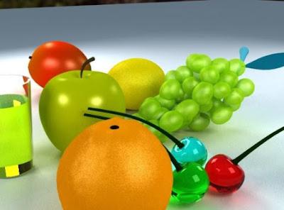 Gambar Buah 3D Jeruk Apel Anggur Buah-Buahan Wallpaper HD