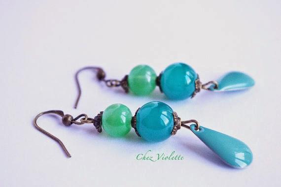 Frozen green and blue mint earrings - chezviolette.etsy.com