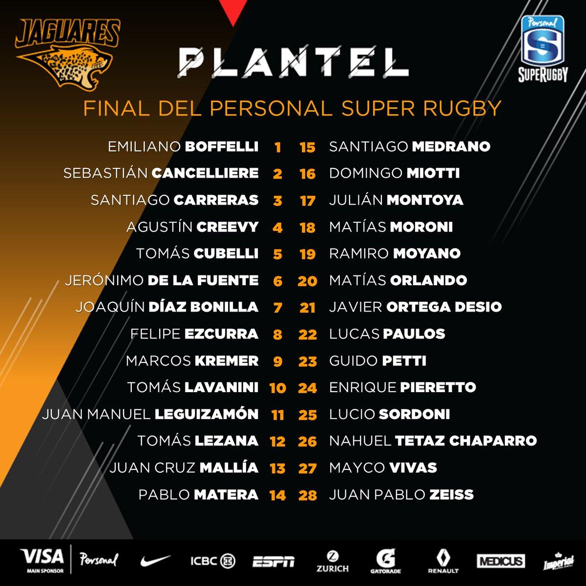 Plantel de Jaguares para la final del Super Rugby #CRUvJAG