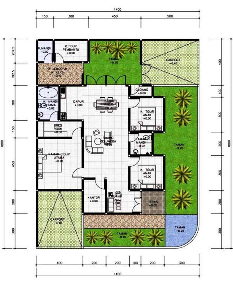 denah rumah 4 kamar 7x15 4