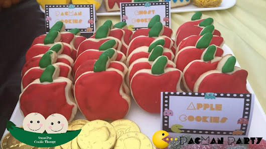 PacMan Themed Birthday Day ... Apple Cookies
