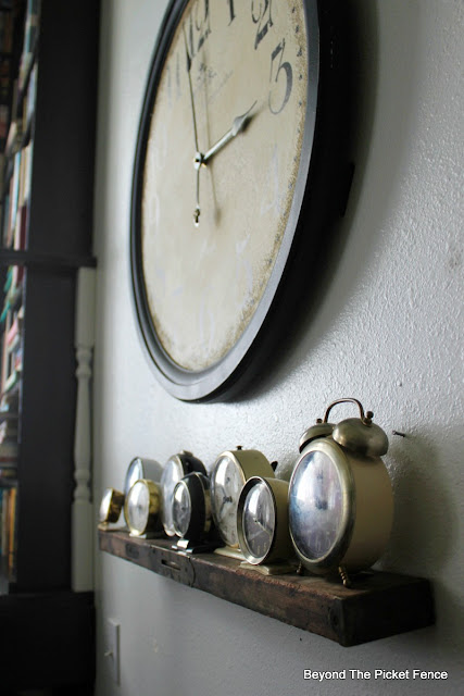 old level, shelf, clocks, DIY shelf, wall shelf, collecting, http://bec4-beyondthepicketfence.blogspot.com/2016/04/level-shelf.html