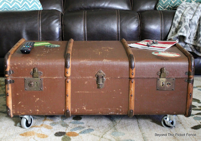 industrial vintage luggage coffee table with storage