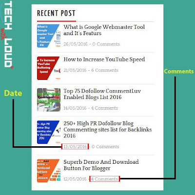 New Recent Post Widget With Date & Comments
