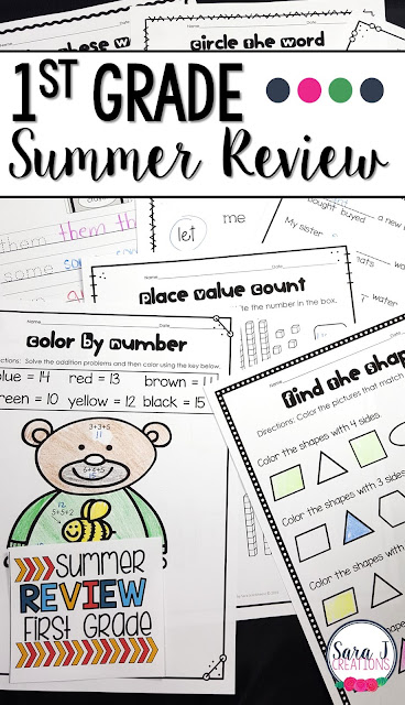First Grade Summer Review packet includes 80 pages of no prep work to help prevent summer slide.  Some of the topics covered include telling time, fractions, comparing numbers, place value, vowel sounds, sight words, abc order and more!