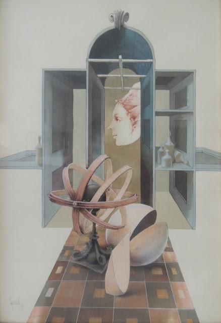 Glauco Capozzoli artista latinoamericano uruguayo dibujo coloreado retrato surrealista