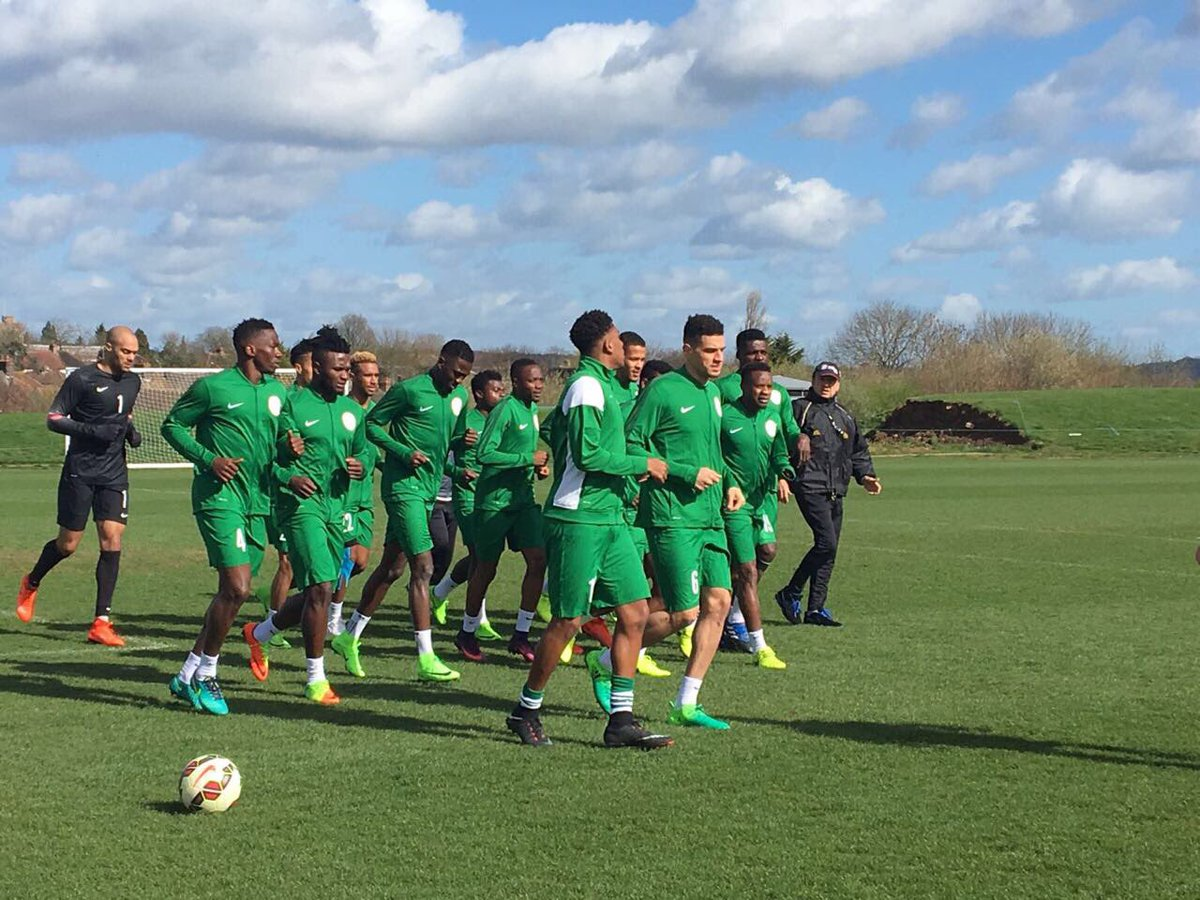 Super Eagles begin training, committed to victory over Bafana
