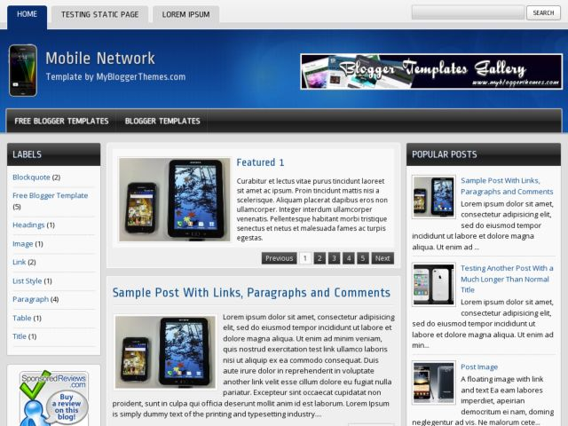 Mobile Network Blogger Template