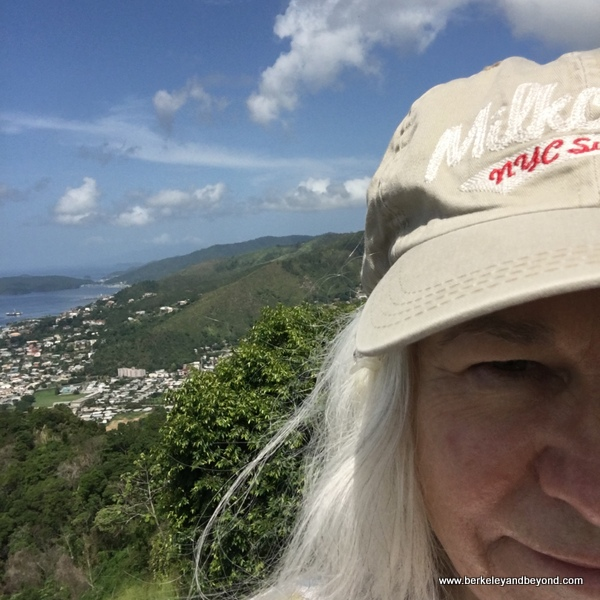 Venezuela in the background in selfie at Fort George in Port of Spain, Trinidad