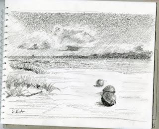 沖縄、浮き球のあるビーチ ラフスケッチ