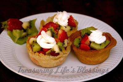 sugar cookie,mini muffin pan, fruit
