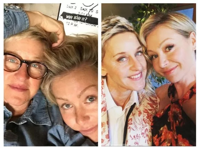 24 Pictures Of Famous Women With And Without Makeup - Portia de Rossi And Ellen Degeneres