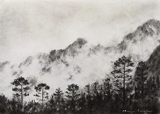 A charcoal drawing of a scene from Zero Point, North Sikkim. By Manju Panchal