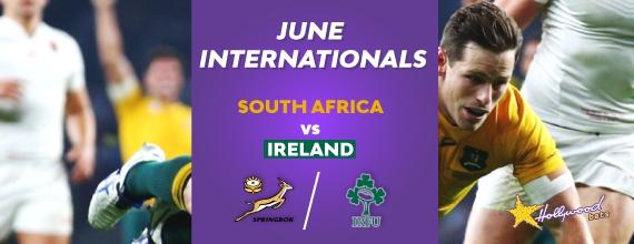 Hollywoodbets' South Africa v Ireland banner with South African and Ireland rugby crests as well as a link to our first Test preview