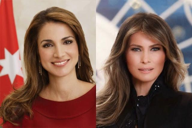 هكذا بدت الملكة رانيا إلى جانب ميلانيا ترامب.. وهذا ما جمعهما من الأكثر أناقة فيهم !