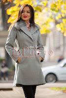 Palton elegant gri cu blanita la gat