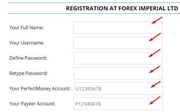 Регистрация в ForexImperial 2