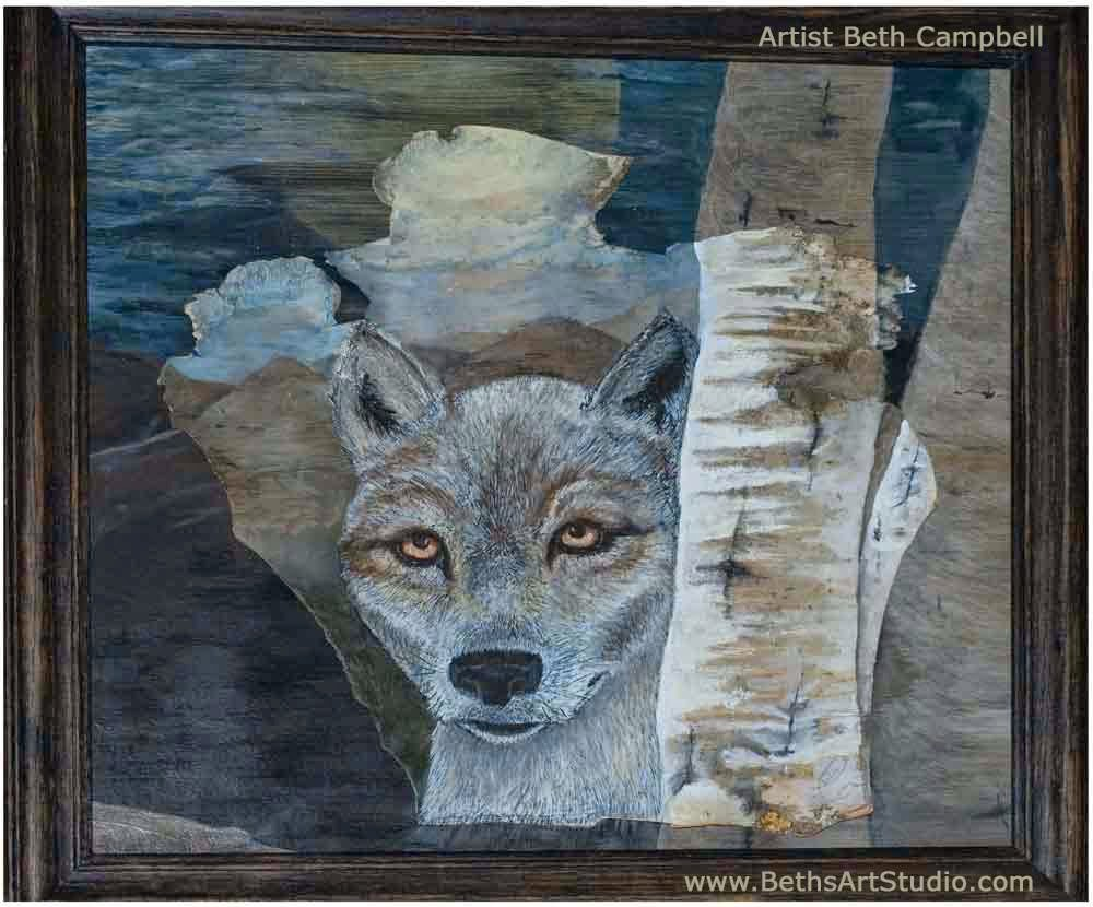 wolf painting birch bark acrylic Beth Campbell
