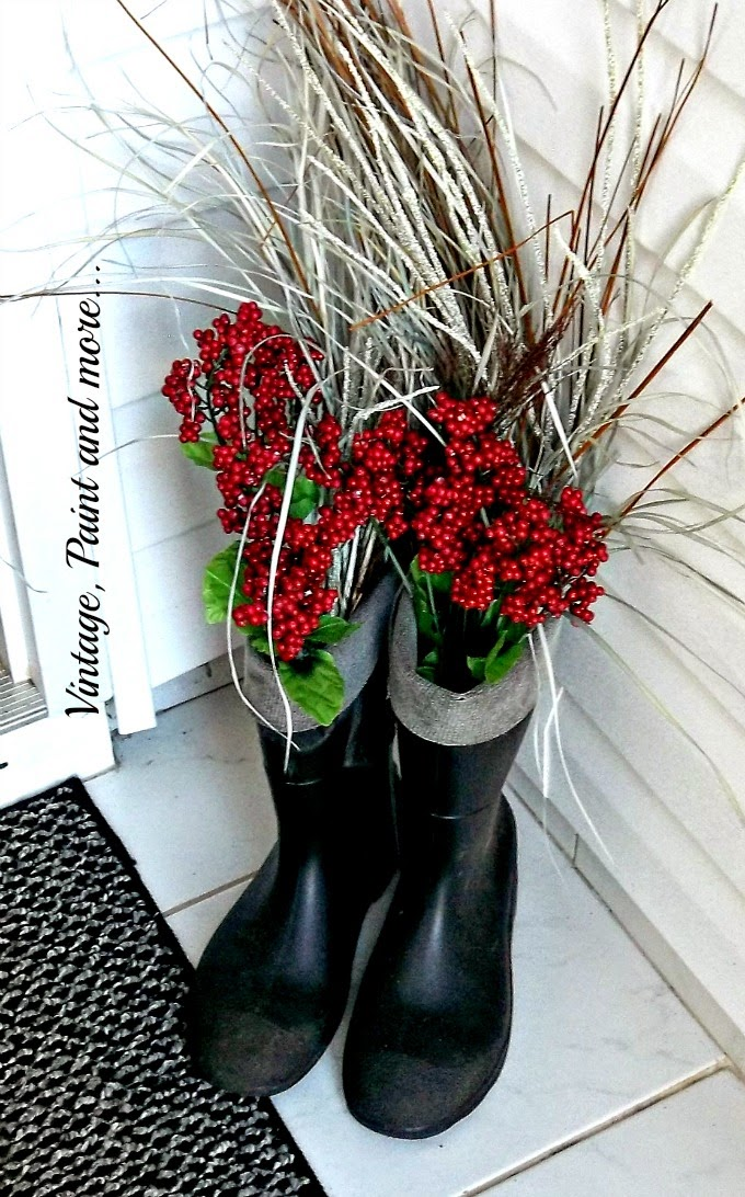 Spring Entryway - thrifted black boots, red Christmas berries
