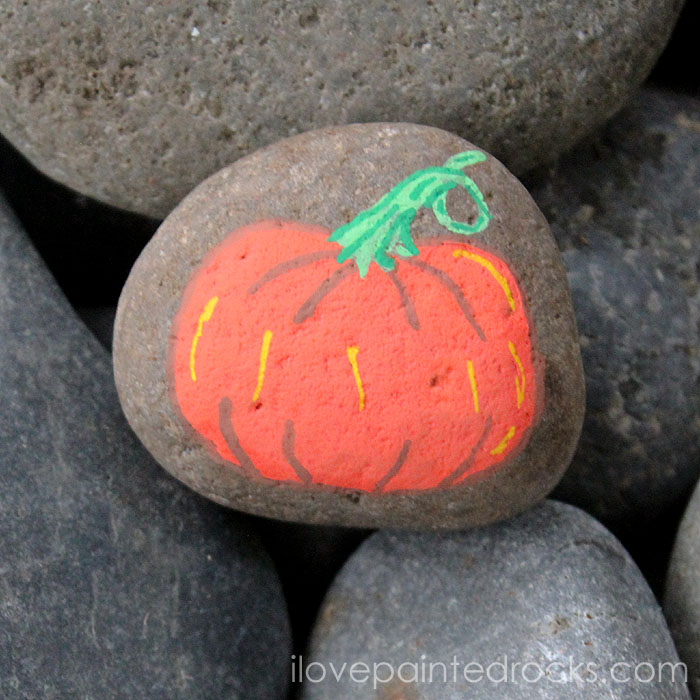 How to Paint a Pumpkin Rock How