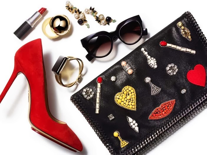 Stella McCartney Falabella crystal-embellished faux leather clutch