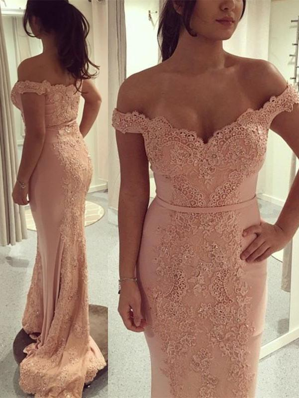 Newest Off-the-shoulder Bodycon Lace Sweep Train Prom Dress