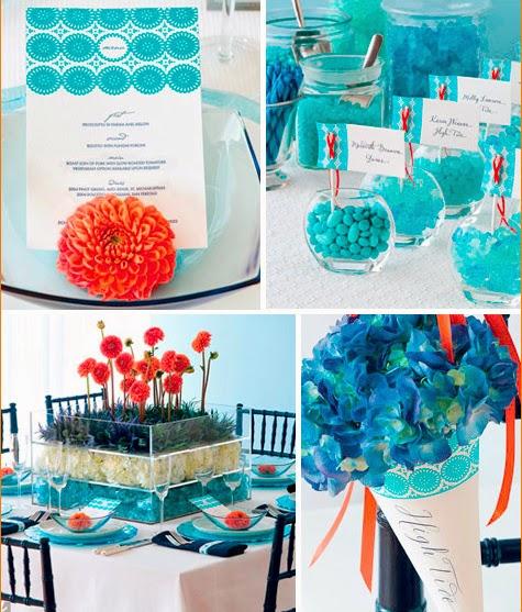 A Modern Orange and Blue Wedding
