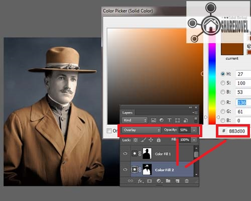 klik icon layer adjustment dan pilih solid color, serta atur blending mode dan opacitynya