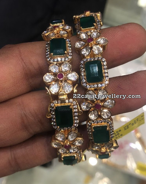 Emerald Uncut Diamond Floral Bangles