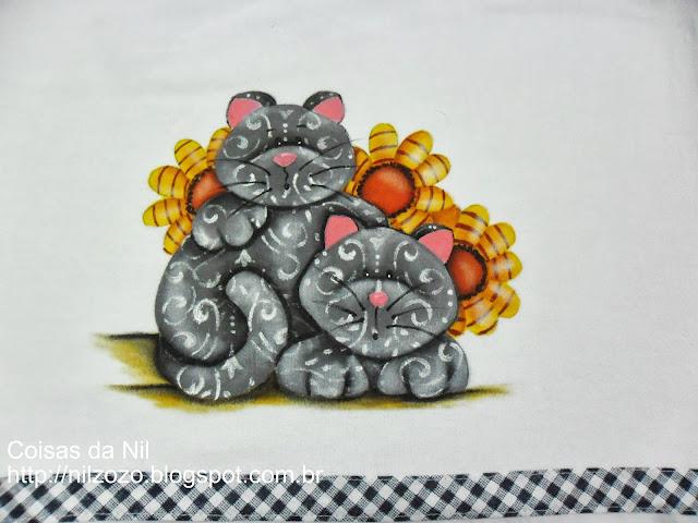 pano de copa com pintura estilo country gatos e girassois