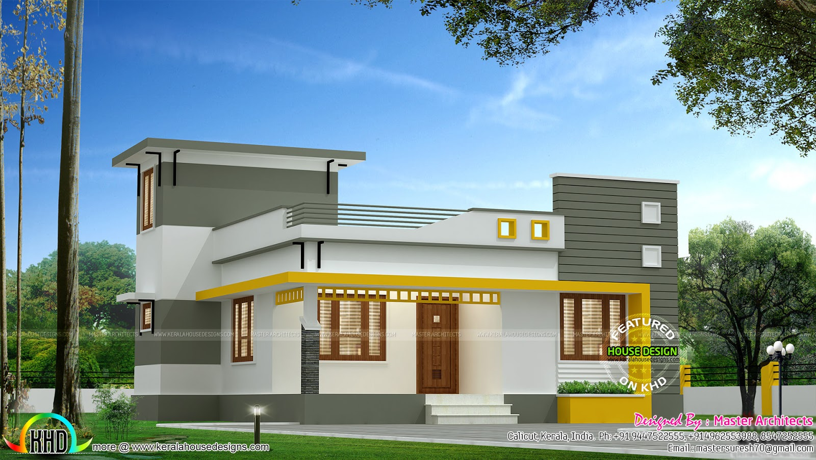 3 bedroom single floor modern architecture home kerala for Modern 3 bedroom house design