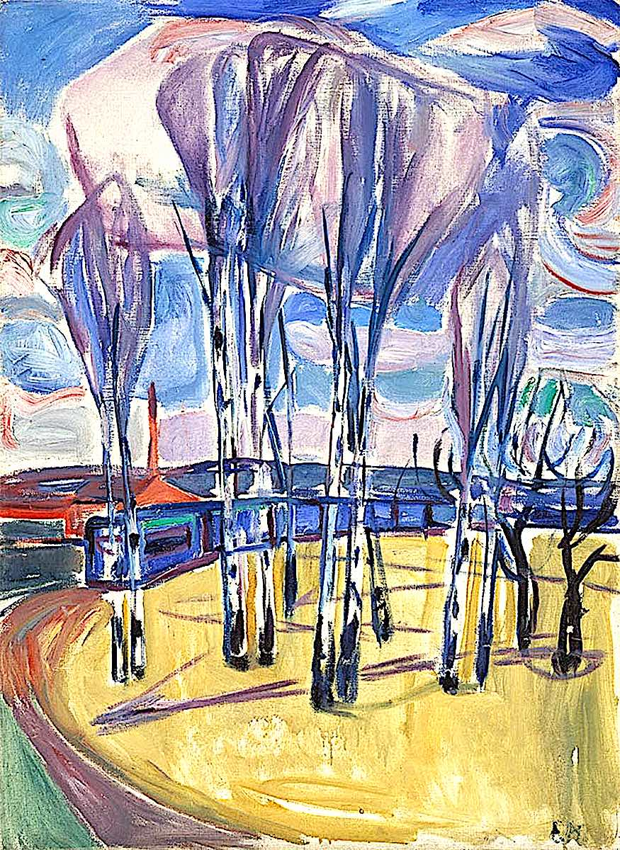 Edvard Munch, train with trees
